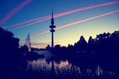 Hamburg Television tower after sunset, Germany — Fotografia Stock