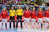 Hentbol oyun Motor vs Aalborg — Stok fotoğraf