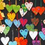 Close up small handmade hearts on a market stall — Stock Photo #60727121