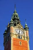 Clock Tower of the Railway station in Gdansk, Poland — Stock Photo