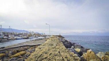Harbour in Kyrenia city (Girne), Cyprus — Stock Video