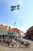 Lilla Torg square in Malmo city, Sweden — Stock Photo