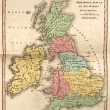 Ancient map of British Isles, showing its various regions under — Foto de Stock   #81097322