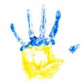 Child's hand imprint in Ukraine colours — Stock Photo