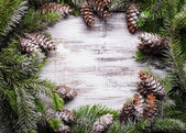 White shabby Christmas border with snow covered pinecones — Stock Photo