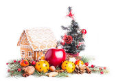 Gingerbread house and decor — Stock fotografie
