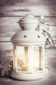 Cristmas lantern with snow — Stock Photo