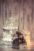 Christmas light in a cage — Stock Photo