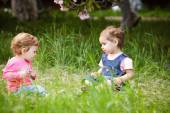 Two girls play — Stock Photo