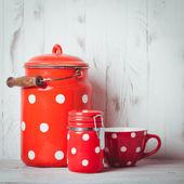 Red polka dot utensils — Stock Photo