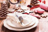 Christmas serving table — Stock Photo