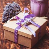 Lavender gift box — Stock Photo