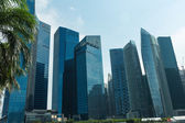 Byggnader i singapore skyline — Stockfoto