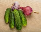 Cucumbers on the board — Stock Photo