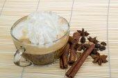 Cappuchino with cinnamon — Stock Photo