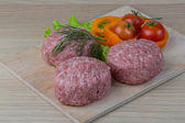 Raw burger cutlet — Stock Photo