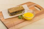 Honey with comb — Stock Photo