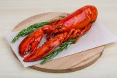 Fresh boiled lobster with rosemary — Stock Photo