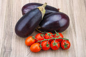 Eggplants and tomatoes on the branch — Stock Photo