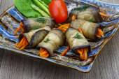 Eggplant rolls with carrot — Stock Photo
