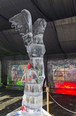 Figure of Greek goddess Nike in the exhibition of ice sculptures — Stock Photo