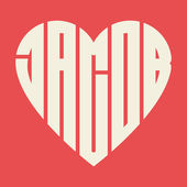 Name Jacob in heart — Stock Vector