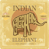 Vintage label with elephant — Stock Vector