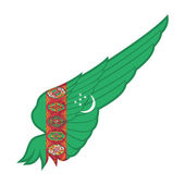 Turkmenistan Flag on Abstract Wing — Vector de stock