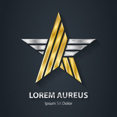 Gold and silver star logo.