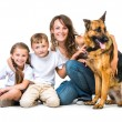 Mother with two children and their shepherd — Stock Photo #54524971