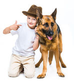 Little boy with his dog — Stockfoto