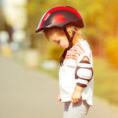 Two year old in  a helmet — Stock Photo