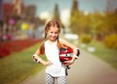 Little girl rollerblading — Foto de Stock