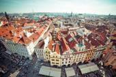 Houses with traditional red roofs in Prague — Stock fotografie