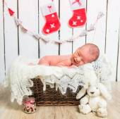 Cute newborn baby sleeps — Stock Photo