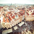 Houses with traditional red roofs in Prague — Stock Photo #58585329