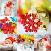 Christmas photos with a newborn baby — Stock Photo