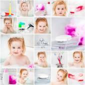 Little cute girl takes a bath — Stock Photo