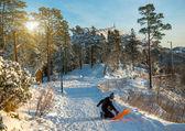 Kleiner Junge Reiten im Schnee — Stockfoto