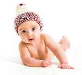 Baby girl in  brown hat — Stock Photo
