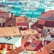 Houses with traditional red roofs in Prague — Stock Photo #69810281