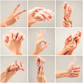 Photo collage of a womans hands — Stock Photo