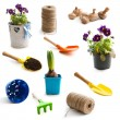 Collage of  objects for gardening — Stock Photo #69889063