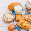 Breakfast of cheese, milk, bread and eggs — Stock Photo #71906263