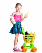 Girl with  basket of products — Stock Photo