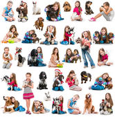 Photo collage of  girl with  dogs — Stock fotografie