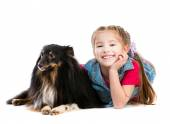 Little girl is with dog Sheltie — Stock Photo