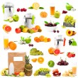 Photo collage fruits and juices — Stock Photo #73216091