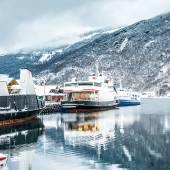 Fiordi norvegesi in inverno — Foto Stock