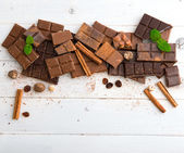 Variety of chocolate on  background — Stock Photo